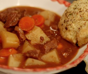 Beef stew made with red wine and balsamic vinegar. biscuits,gourmet magazine, bon appetit magazine, montana beef, cattle ranching, dillon montana, cooking, food and wine, food and drink, stew, dinner, recipes, culinary,