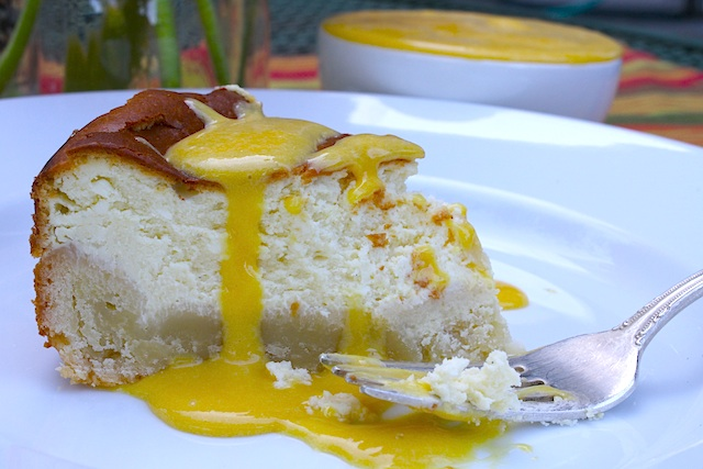Goat Cheese Cheesecake with Passion Fruit Curd - Chez Us