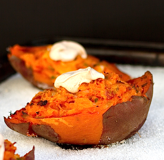 Twice Baked Sweet Potatoes with Chipotle Cream - Chez Us